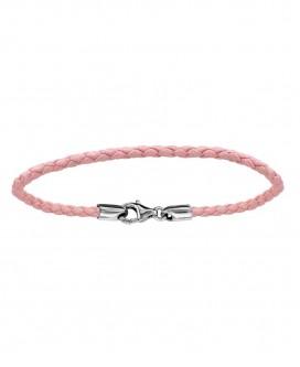 Bracelet en Cuir Rose 17.5cm
