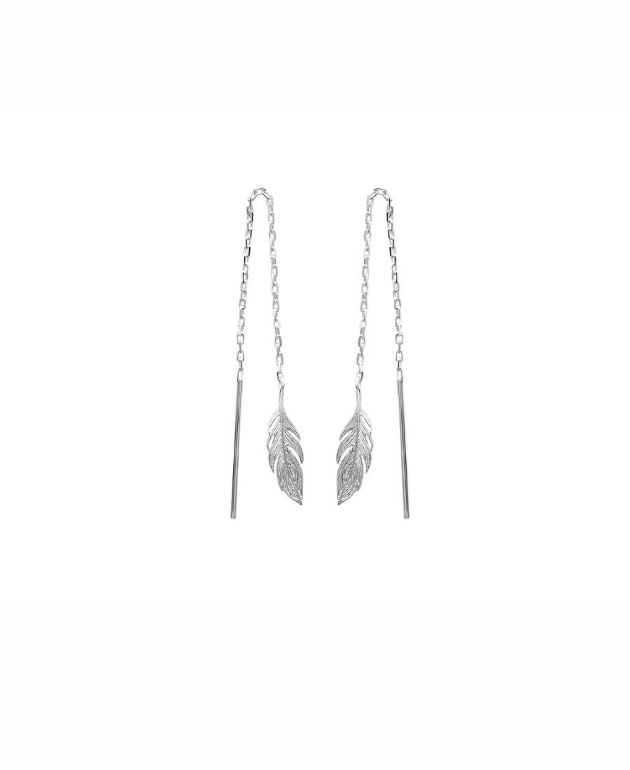 boucles pendantes plumes argent