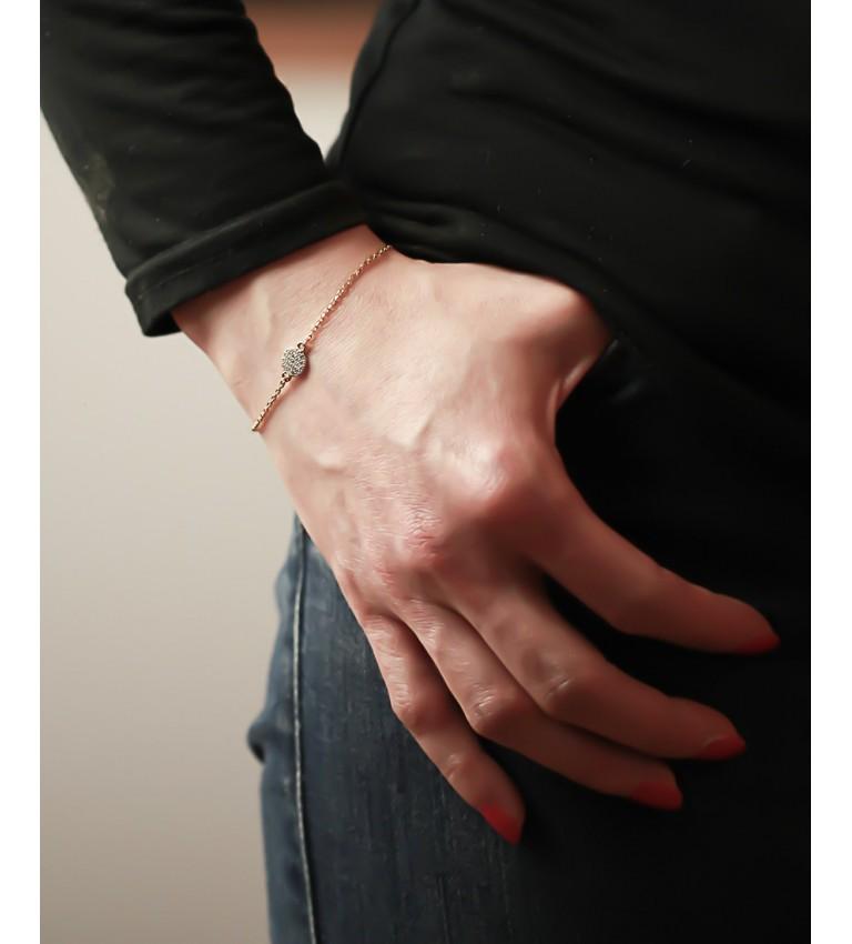 """Bracelet """"Rond Strass"""" en Plaqué Or"""