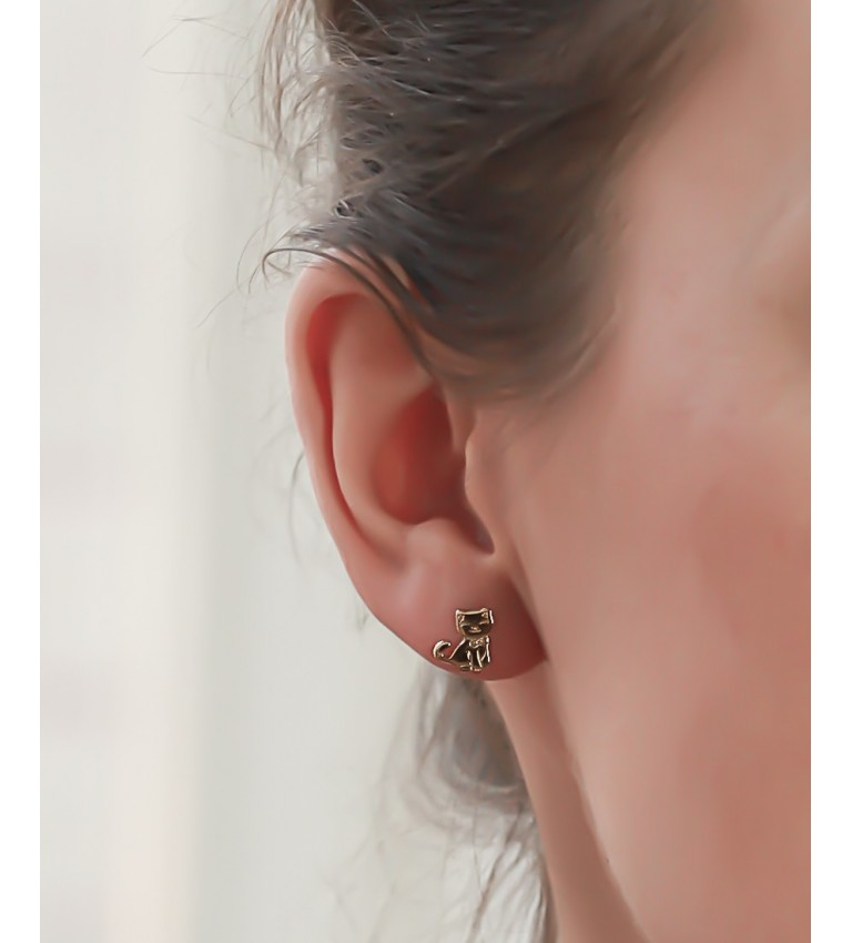 """Boucles d'oreilles """"Chats"""" en Plaqué Or"""