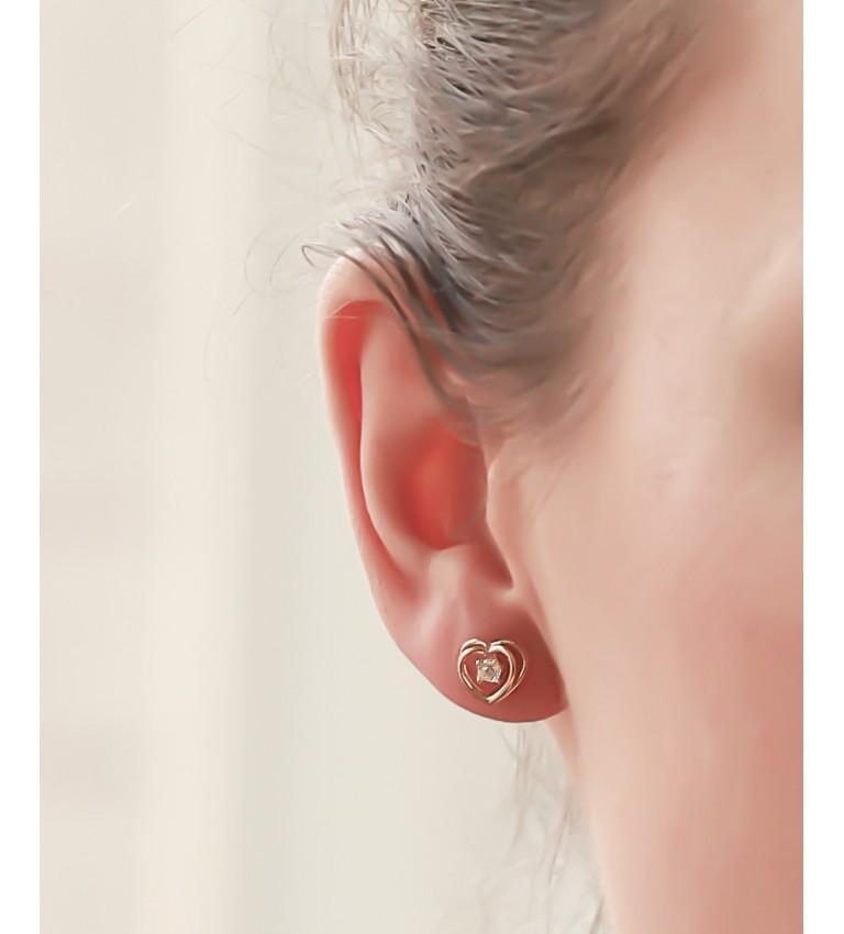 """Boucles d'oreilles """"Coeurs"""" en Plaqué Or"""